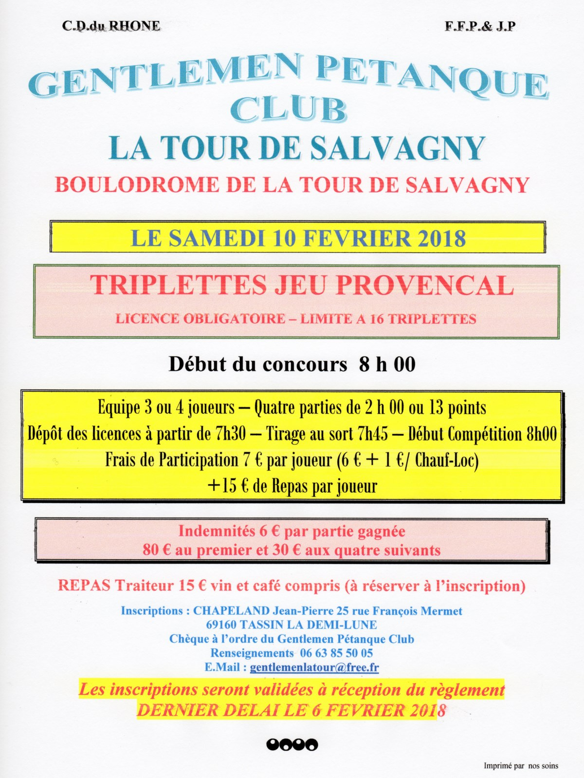Concours samedi 10 février 2018 triplette provençal la Tour de salvagny