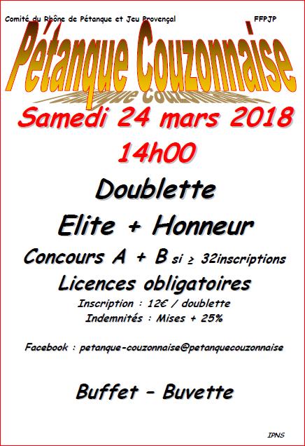 Concours  Elite + Honneur du samedi 24 mars 2018