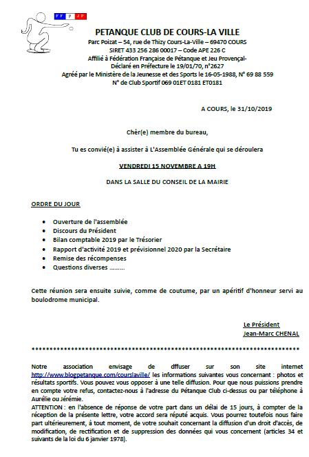 Convocation à l'Assemblée Générale du Pétanque Club de Cours la ville .VENDREDI 15 NOVEMBRE 2019 A 19H00