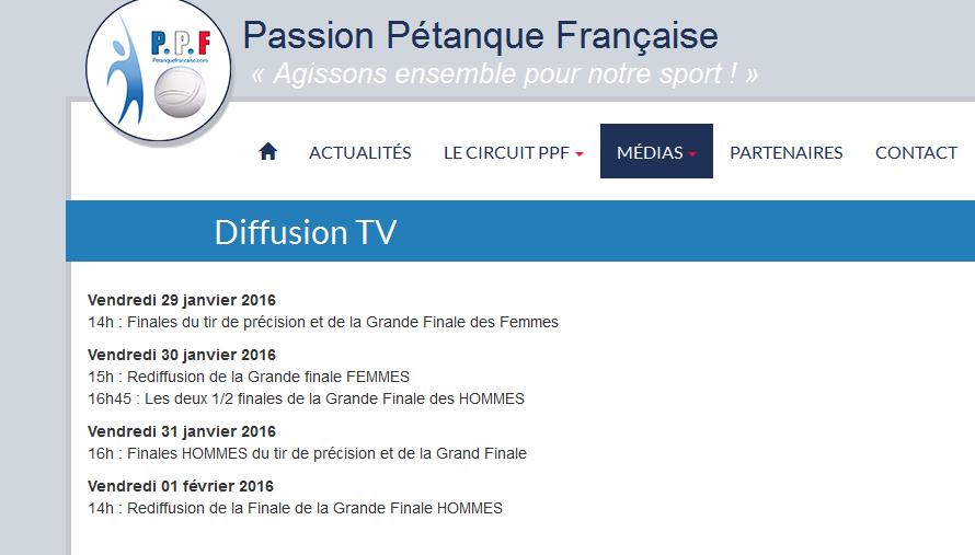 Passion Pétanque Française L'EQUIPE 21 voir programme TV ou sur le SITE INTERNET EQUIPE21
