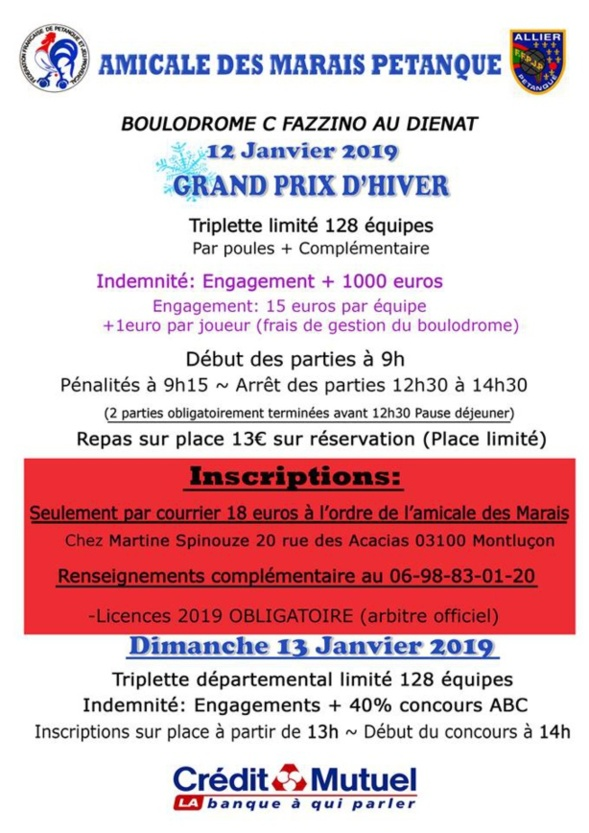 Calendrier Petanque Allier 2021 Grand prix de MONTLUCON 2019.