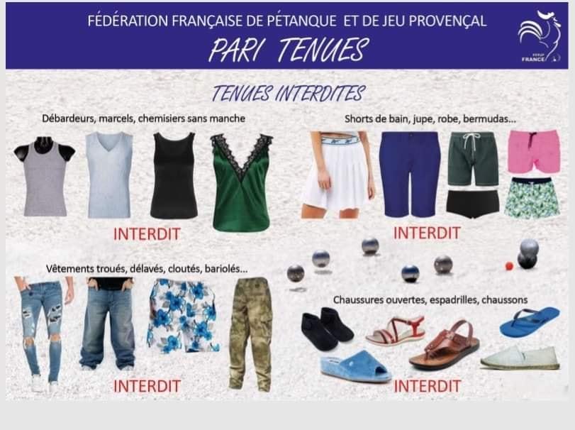 Règlementation pour les tenues à partir de 2019.