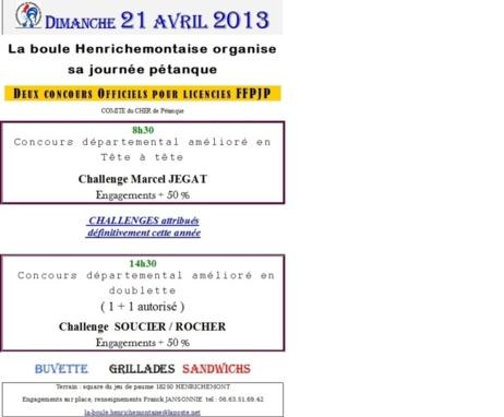 journée pétanque à Henrichemont le 21 Avril 2013