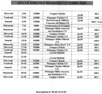 Programme du mois d'Octobre 2018