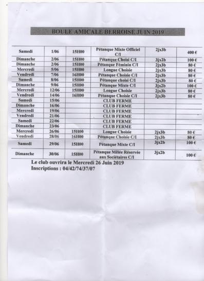 Programme du mois de juin 2019