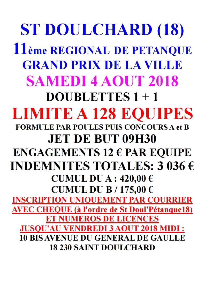 11ème REGIONAL DE PETANQUE à SAINT DOULCHARD (18)