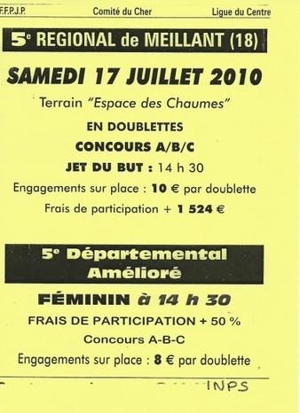 RESULTAT DU REGIONAL DOUBLETTE MEILLANT LE 17/07/10