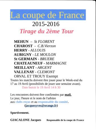 TIRAGE DU 2èmeTOUR DE COUPE DE FRANCE 2015 - 2016