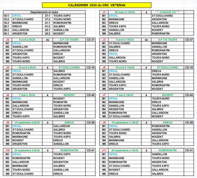 Championnat des clubs vétéran: calendrier du régional