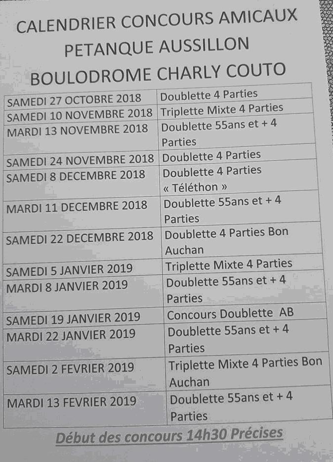 Calendriers concours Aussillon