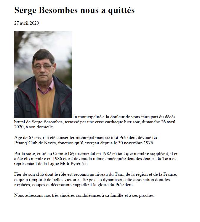 Le Pétanq'club Navès en deuil