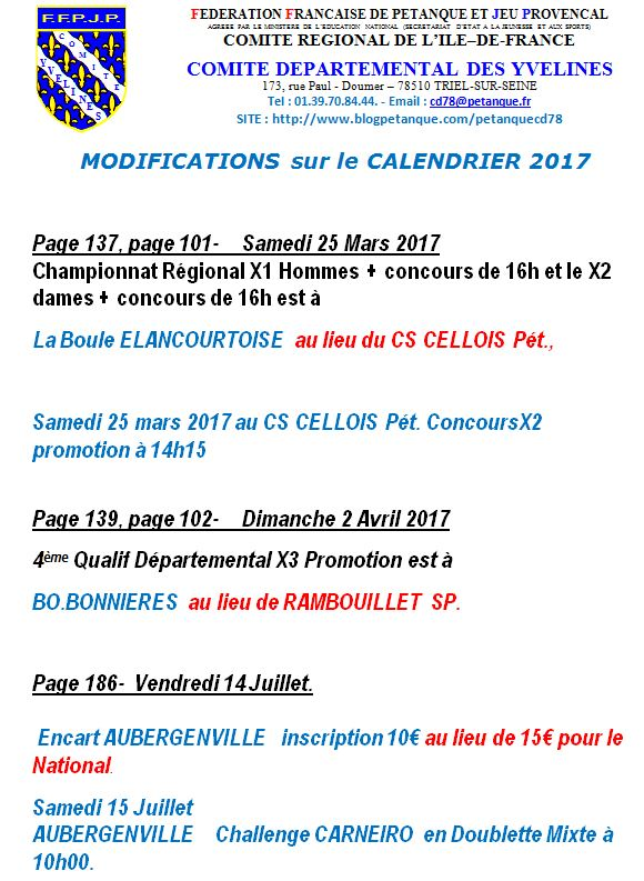 Modifications de calendrier