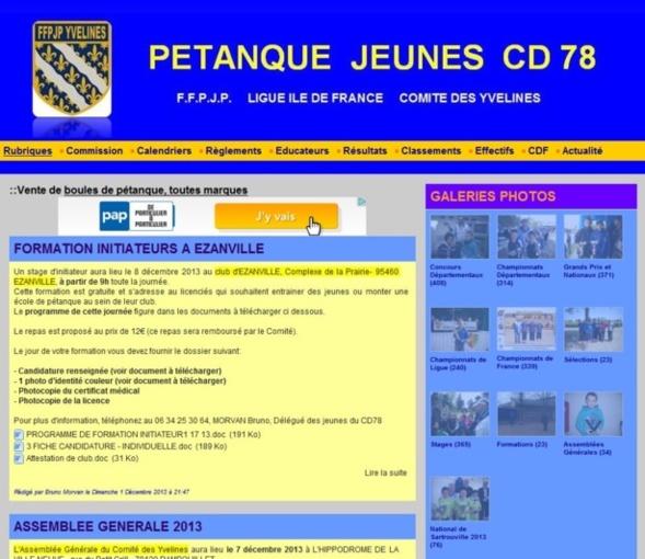 Blog Pétanque Jeunes CD78