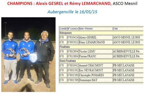 Championnat Départemental Jeu Provençal DOU 2015