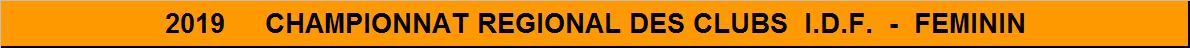 Championnat Régional des clubs I.D.F. Féminin 2019