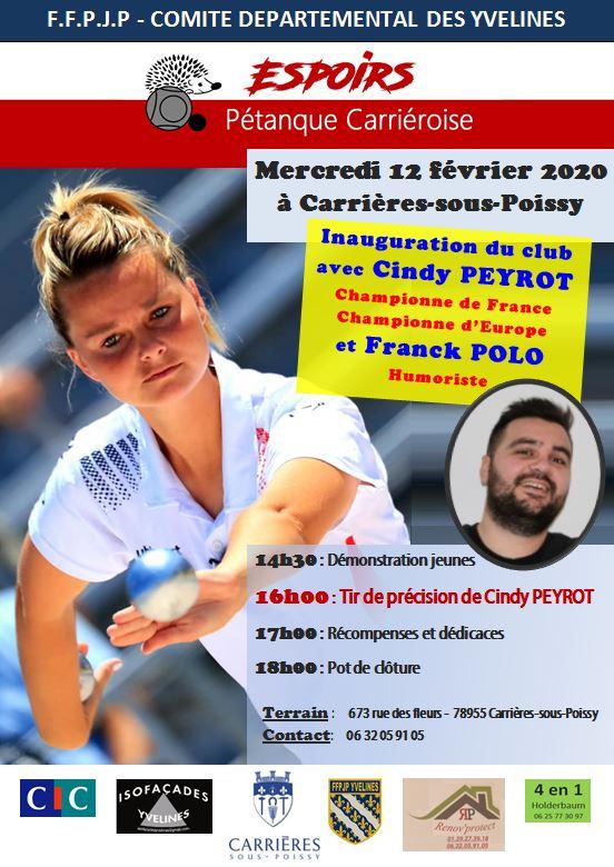 Inauguration des Espoirs- Pétanque Carriéroise avec Cindy PEYROT et Franck POLO