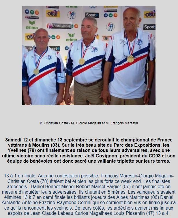 C'était en 2009: nos vétérans, Champions de France.