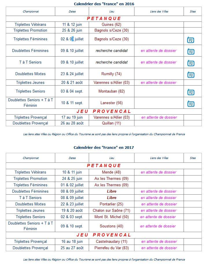 Calendriers CDF 2016 et 2017