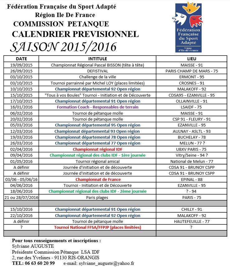 Calendrier FFSA- Pétanque IDF