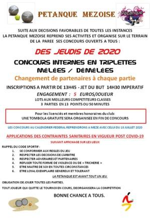 REPRISE DES CONCOURS INTERNES DE LA PETANQUE MEZOISE JUILLET 2020