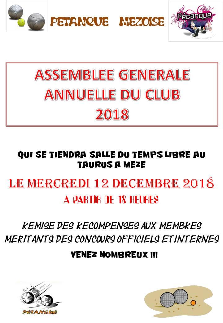 CONVOCATION 2018 A L'AG ANNUELLE DE LA PETANQUE MEZOISE