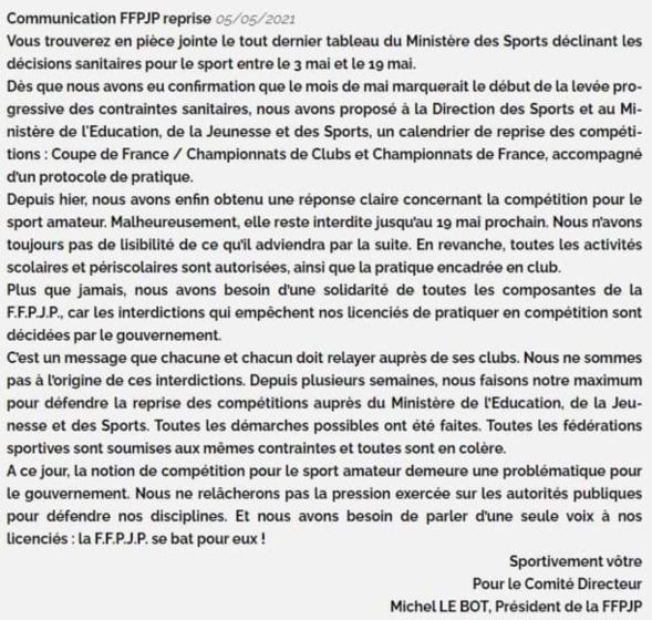 Communiqué FFPJP