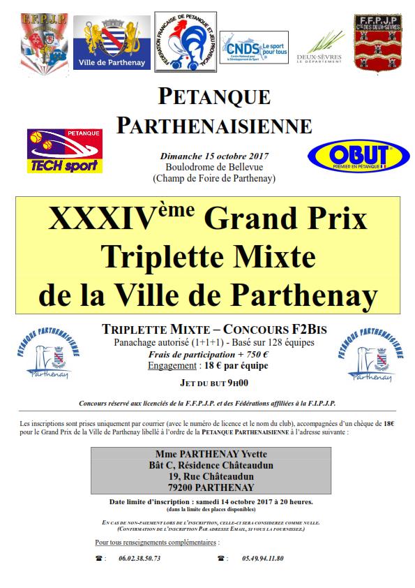 Grand Prix Triplette Mixte de Parthenay