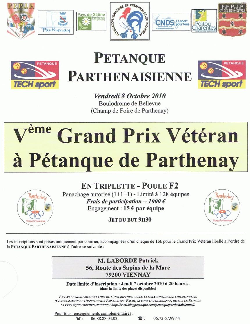Vème Grand Prix Triplette Vétéran de Parthenay