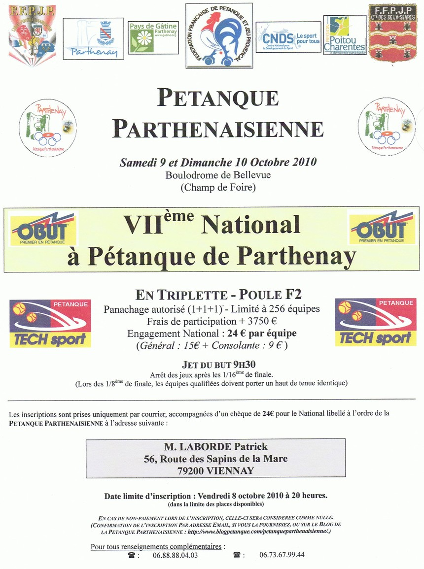 VIIème National à pétanque de Parthenay