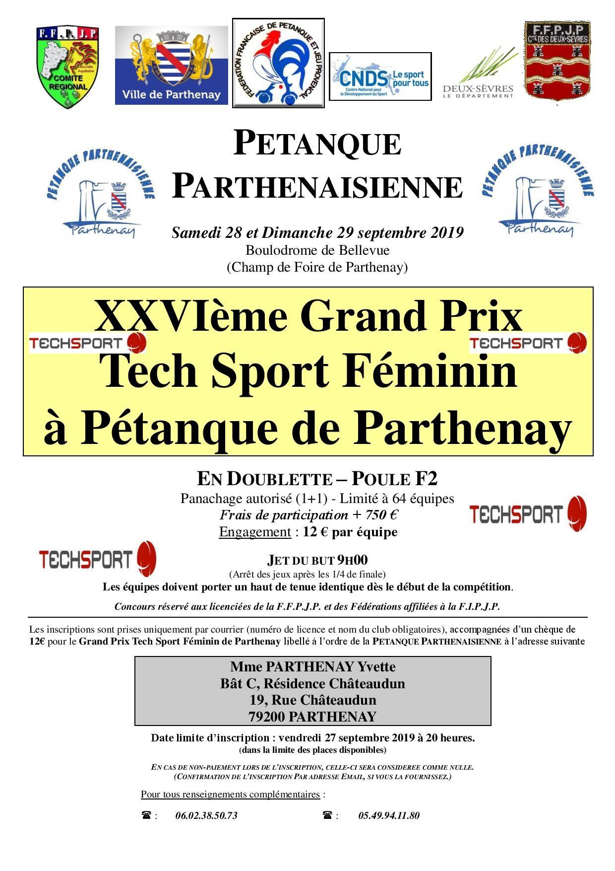 XXVIème GP Doublette Féminin Tech Sport