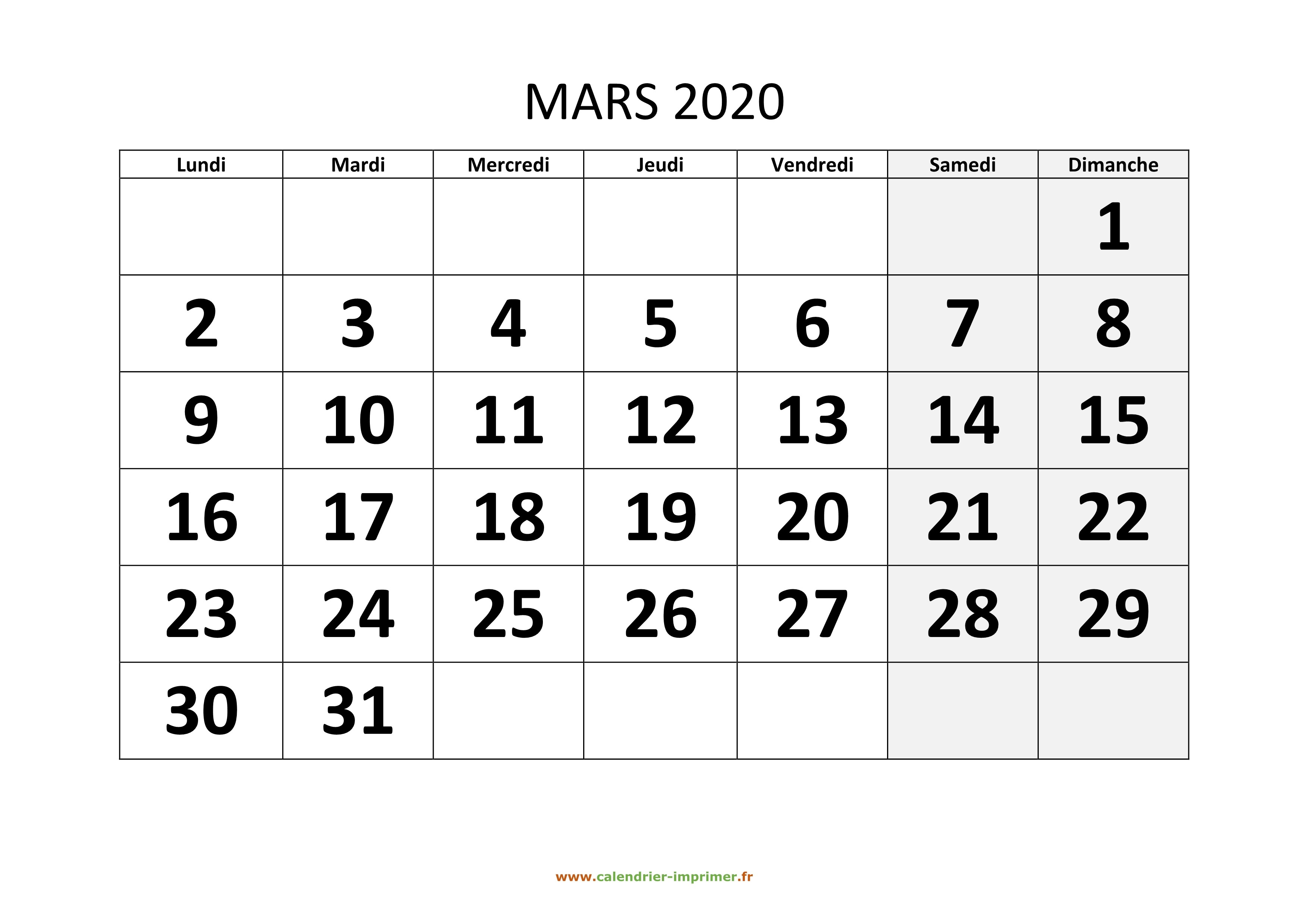 Calendrier Hiver 2019-2020 - Mars 2020