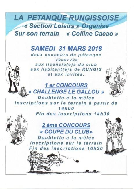 CONCOURS DU 31 MARS 2018
