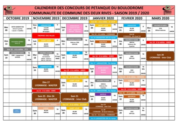 Calendrier hiver Valence d'Agen.
