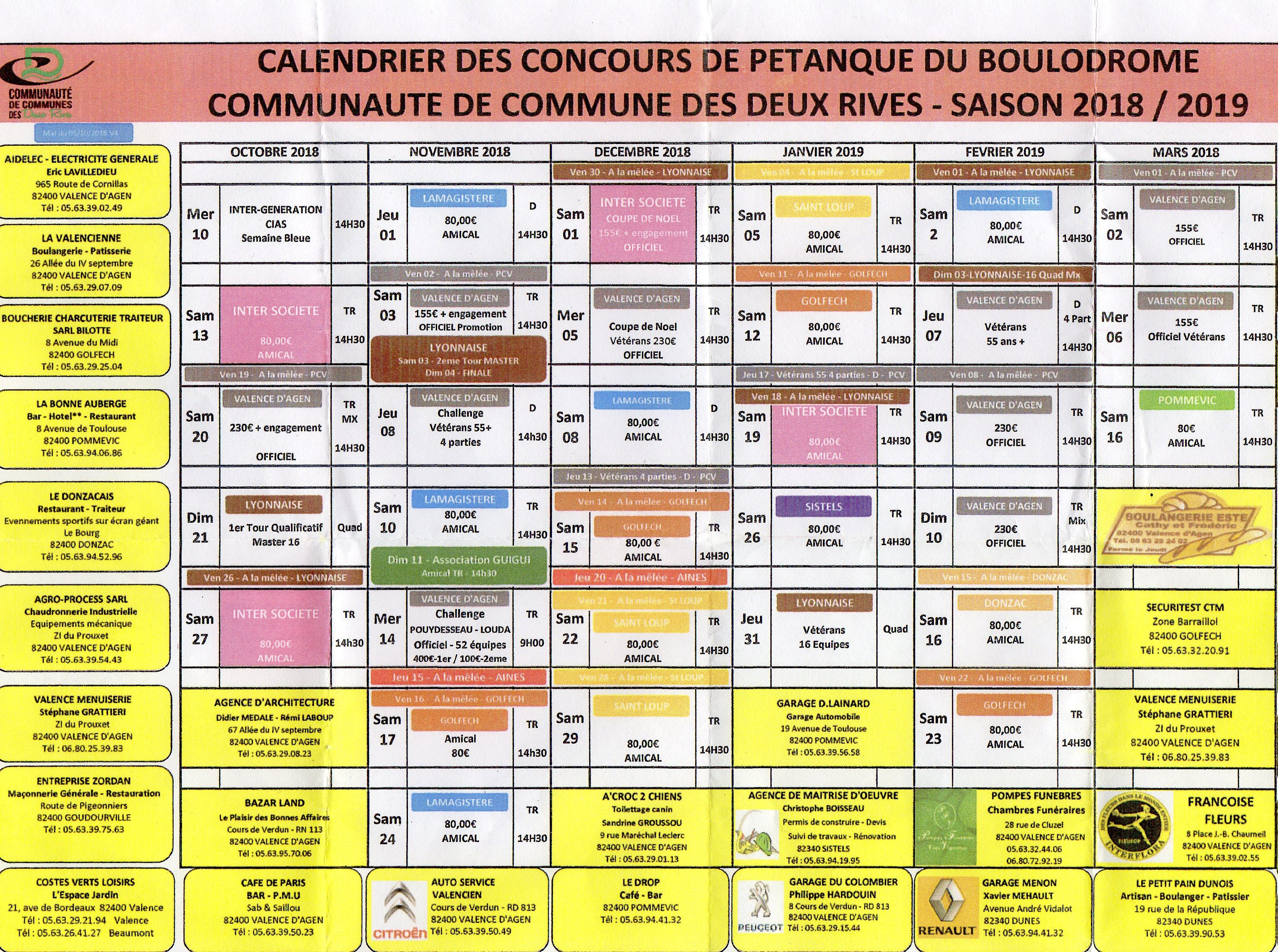Calendriers hiver Valence d'Agen 2018/2019.
