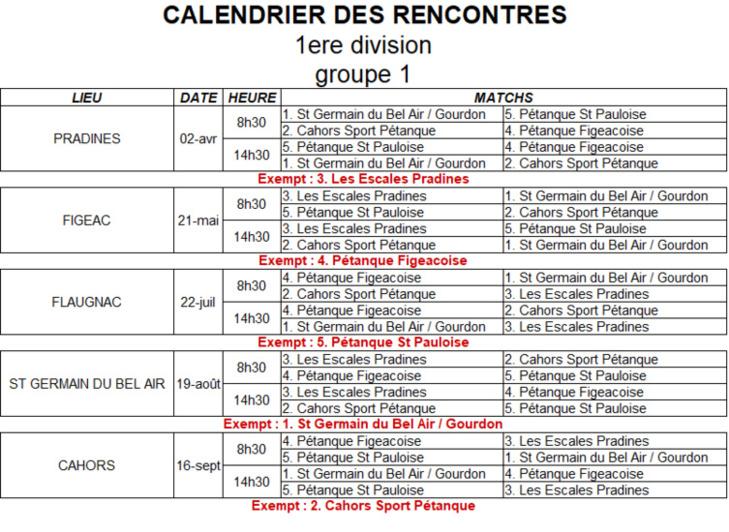 Calendrier CDC Jeu Provençal 2018