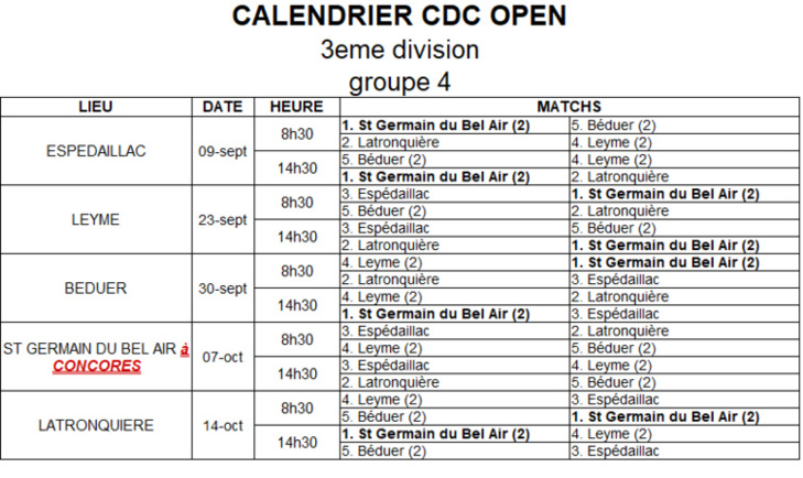 Calendrier CDC Open 2018