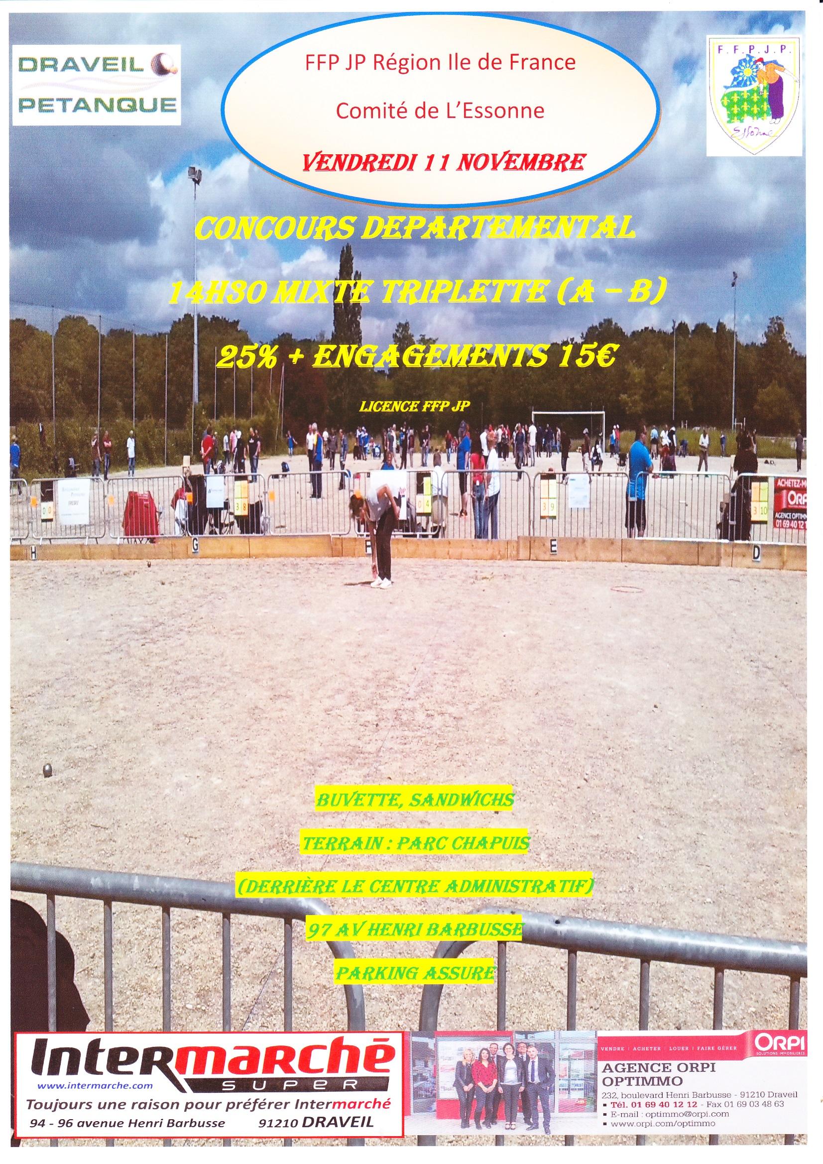 Affiche du concours à DRAVEIL le 11 Novembre à communiquer