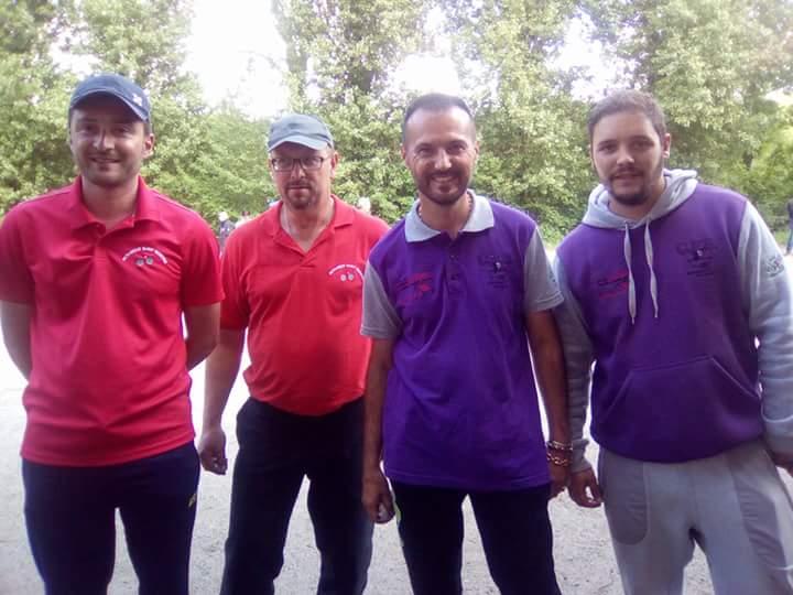 Julien et Denis en compagnie des champions de ligue Bruno Gire et William Dauphant