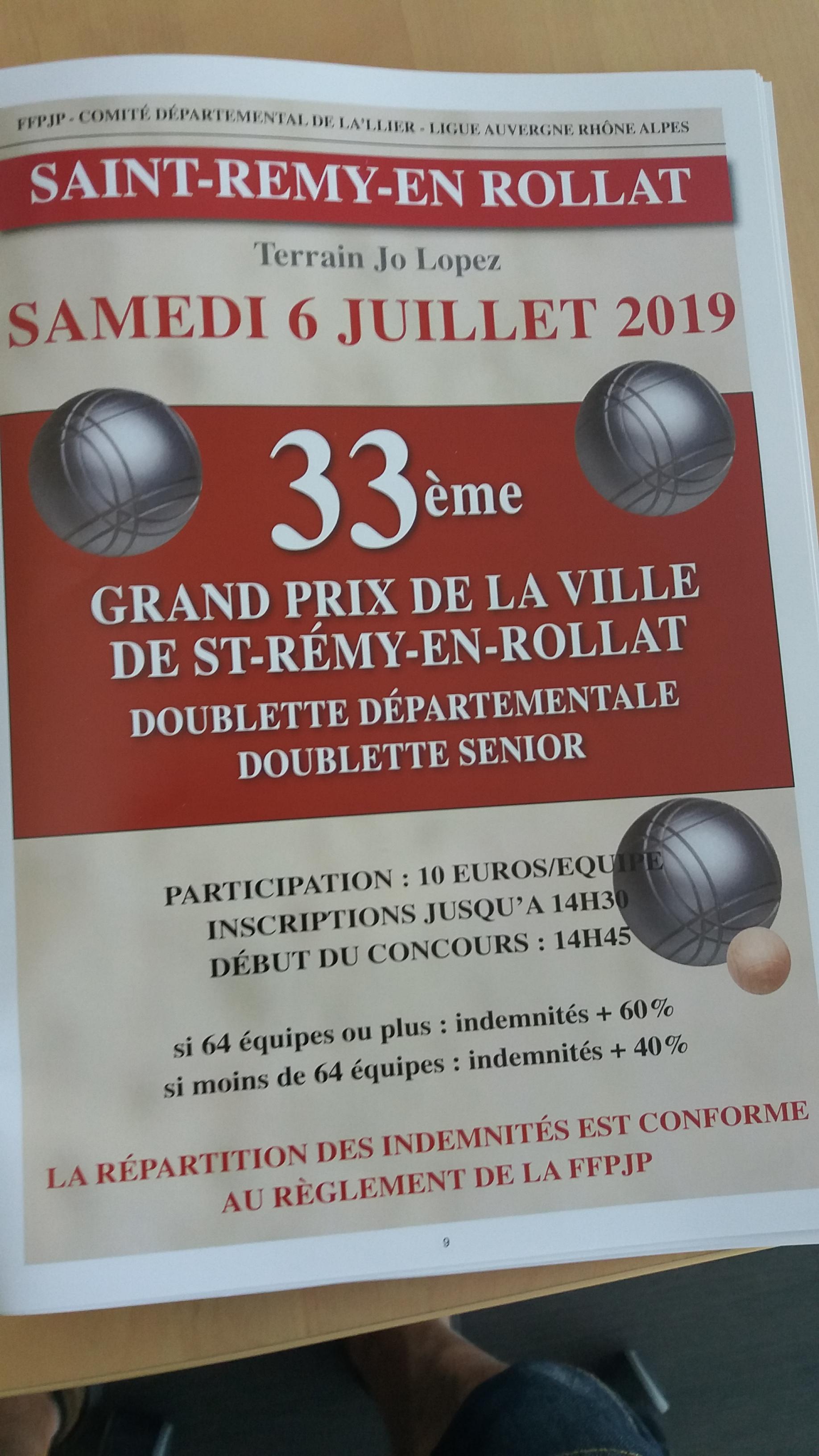 33EME GRAND PRIX DE LA VILLE DE SAINT REMY EN ROLLAT