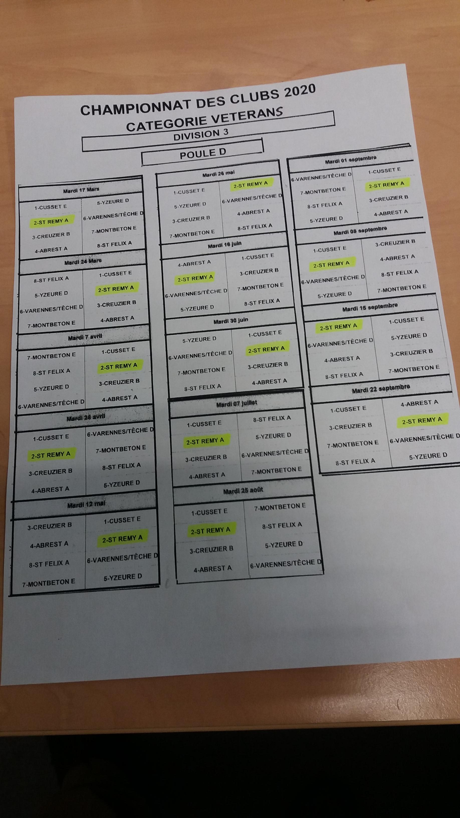 RECTIFICATIF DU TIRAGE DES RENCONTRES DE CHAMPIONNAT DES CLUBS VETERANS