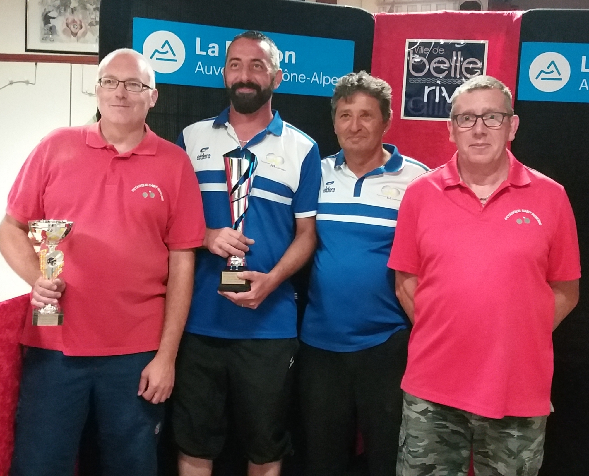 Alain et Serge avec les finalistes moulinois Billaud et Demoliere.