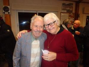 Claude Perruchaut avec Christiane Délas lors de la fiesta organisée à la SVCP pour ses 90 ans (et ceux de Paul Huré)
