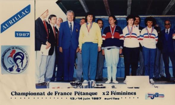 Le podium du championnat de France doublettes féminines 1987
