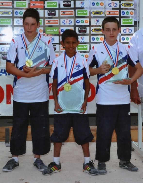 Les champions de France minimes  2011 > Alexandre AUGIER, François GOMEZ et Vincent AZEVEDO