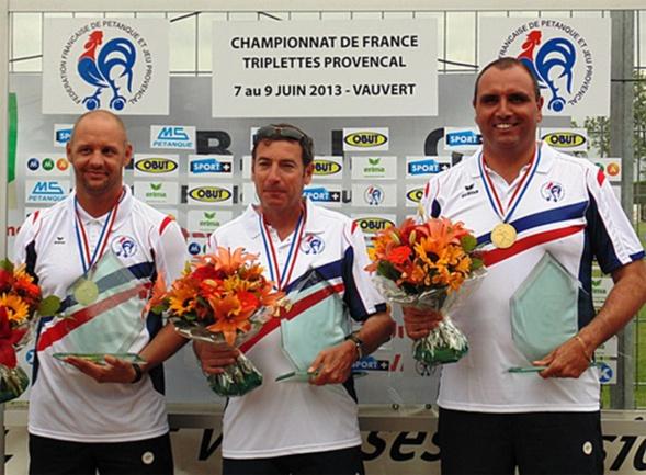 Les champions de France triplettes au Jeu Provençal 2013 > Christophe JOB, Marcel FERNANDEZ et Christophe MARTELLO