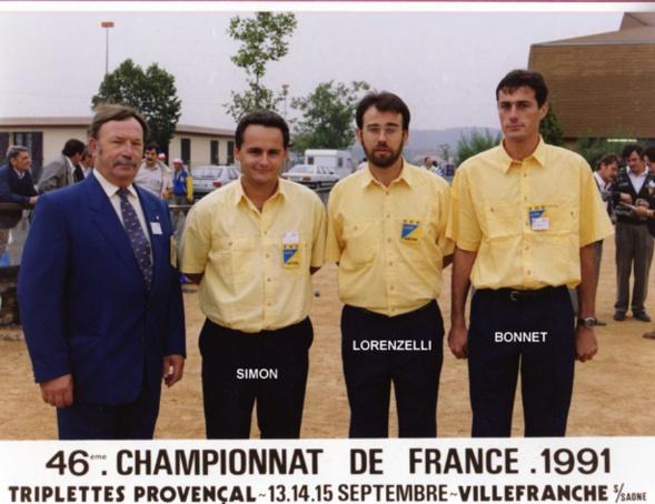 2ème France triplettes au Jeu Provençal en 1991 perdu en 1/16 contre VILLARD - D'APONTE - ALLASIO du 13