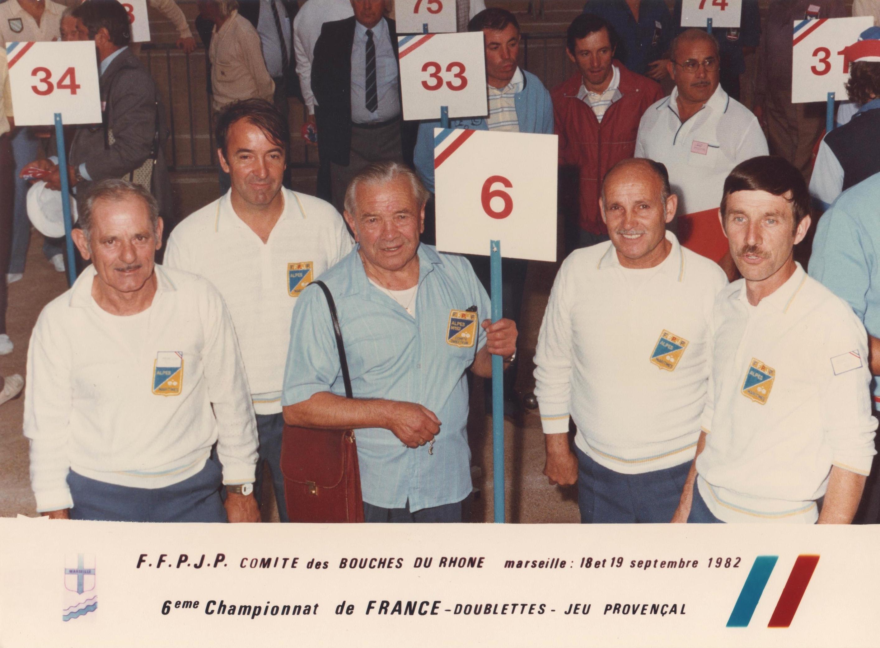 Les 2 doublettes du 06 qualifiées pour le championnat de France 1982 au Jeu Provençal : CHECCONI-RANCUREL et MAILLAN-MOSCIONI