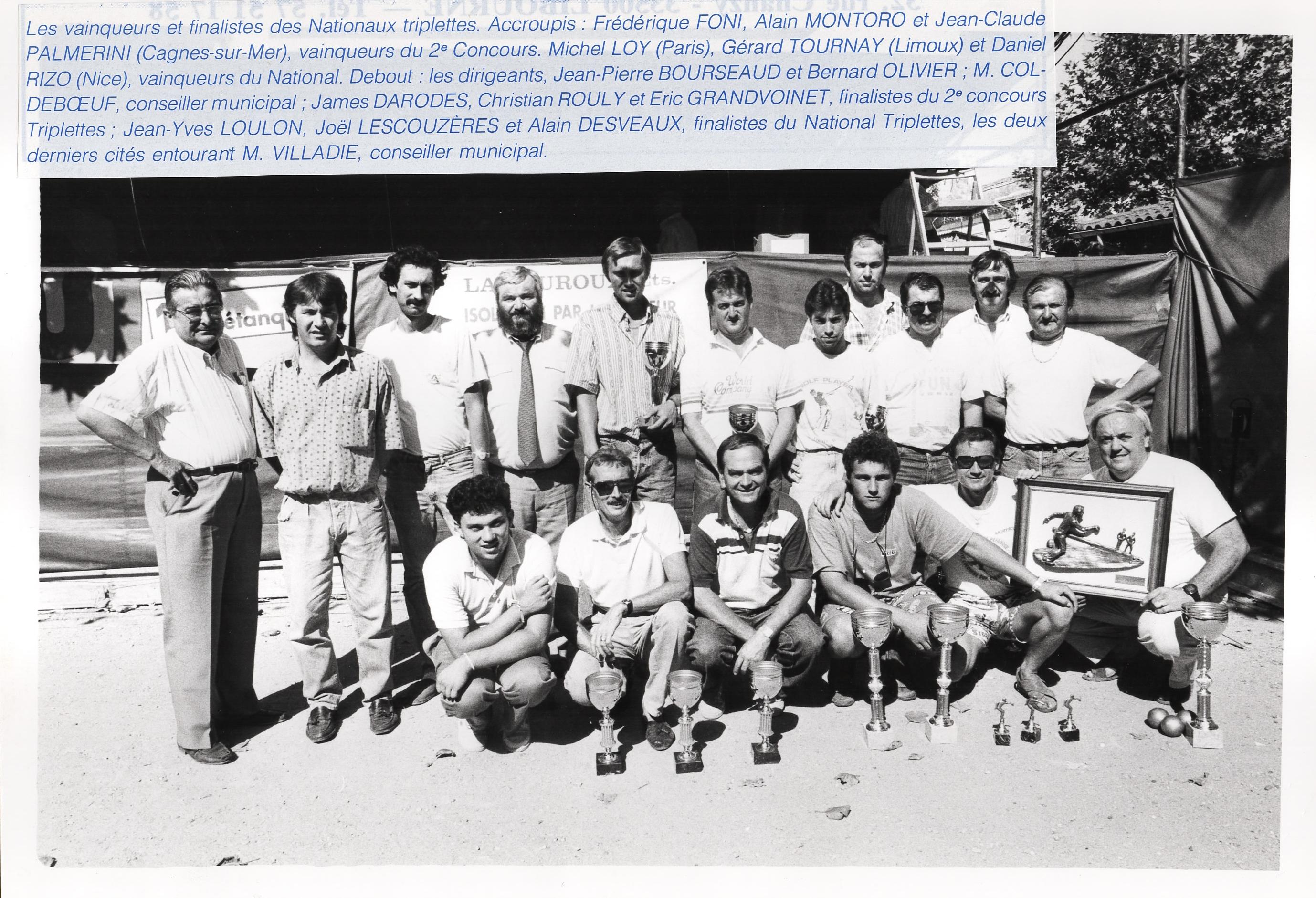 Les lauréats du national de LIBOURNE en 1989