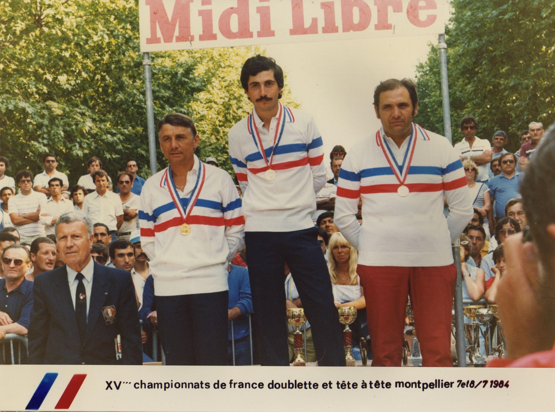 Les champions de France 1984 à MONTPELLIER, pour la doublette VOISIN et FAZZINO pour l'individuel COMBARNOUS