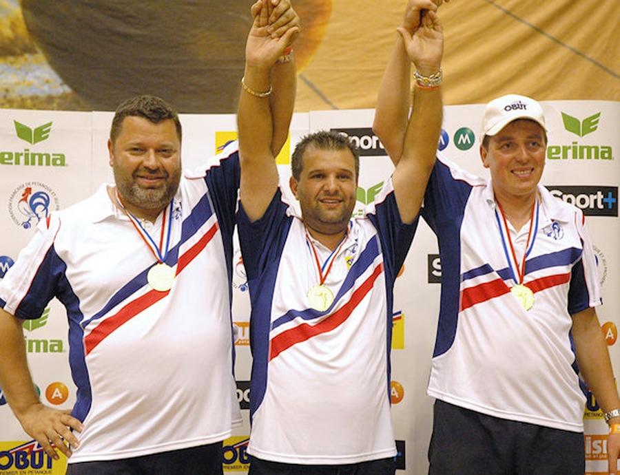 Les champions de France triplettes 2008 > Philippe QUINTAIS - Henri LACROIX - Philippe SUCHAUD